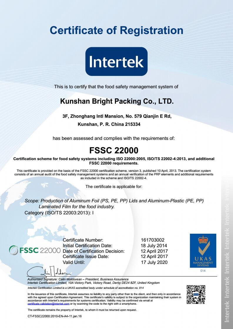 brightpacking fssc certificate